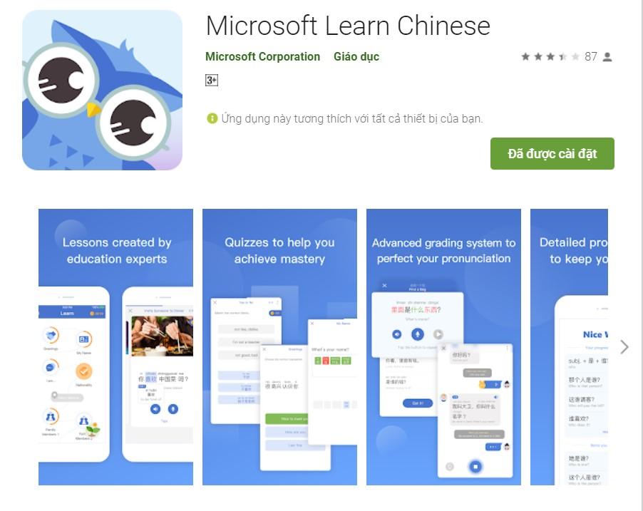 Ứng dụng học ngoại ngữ App học tieng Trung Quoc mien phi Microsoft Learn Chinese