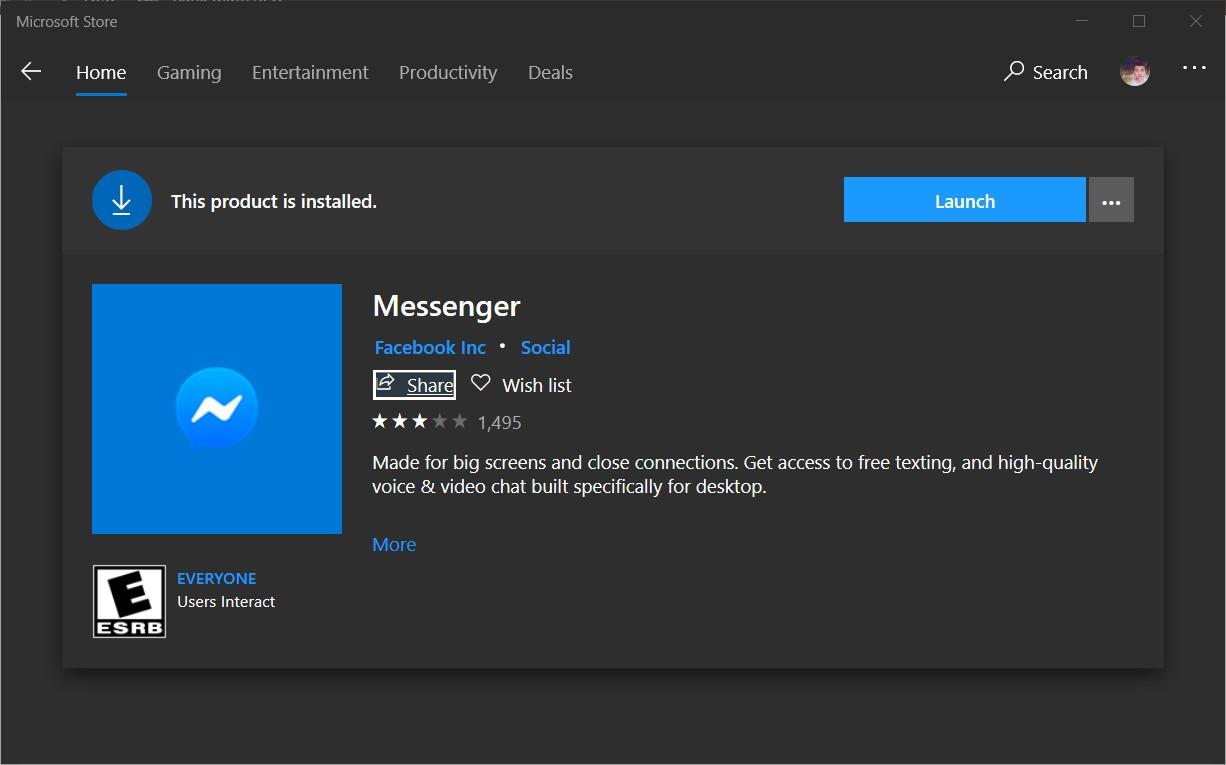 Cài đặt app messenger cho máy tính