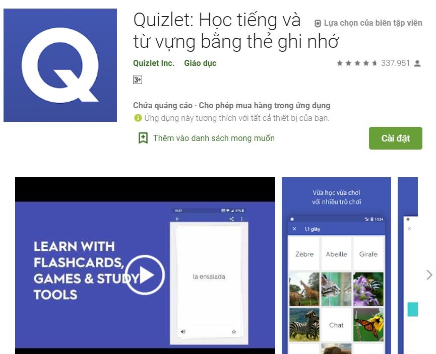 Quizlet Học tiếng và từ vựng bằng thẻ ghi nhớ