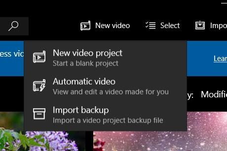 Tạo mới một dự án project Video Editor trên Win 10