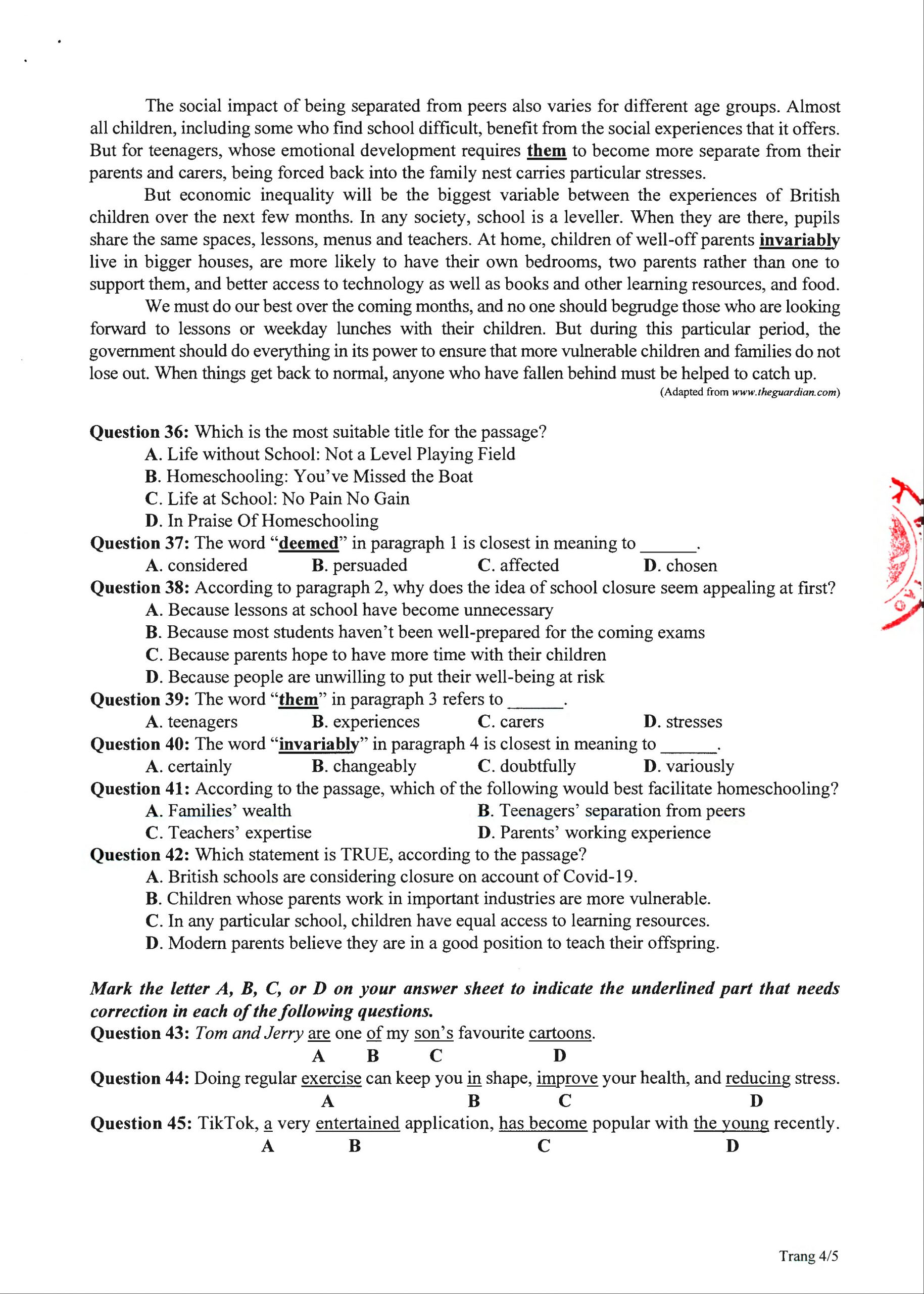 đề tham khảo tốt nghiệp 2020 môn tiếng ANh đề minh họa lần 2