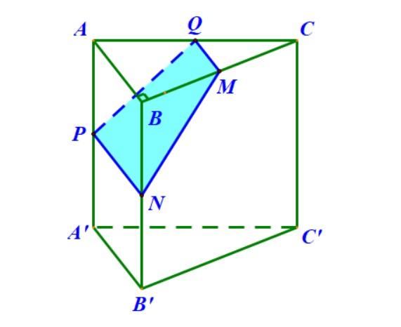 Cho lăng trụ đứng có M là trung điểm BC N là trung điểm BB' mặt phẳng chứa MN và vuông góc với (BCC'B')