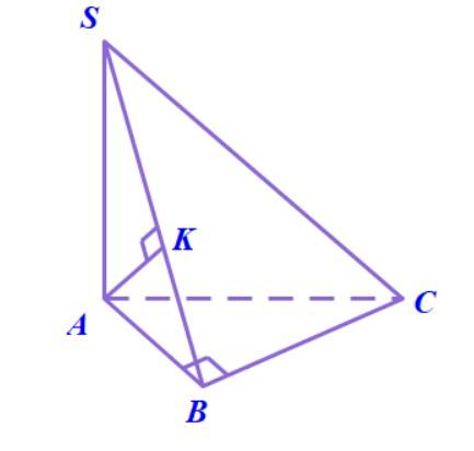 Dựng hình chiếu vuông góc của A lên mặt phẳng (SBC) với hình chóp S.ABC có SA vuông góc với đáy và tam giác ABC vuông tại B