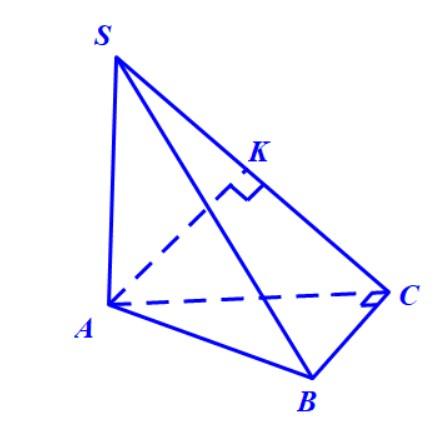 Dựng hình chiếu vuông góc của A lên mặt phẳng (SBC) với hình chóp S.ABC có SA vuông góc với đáy và tam giác ABC vuông tại C