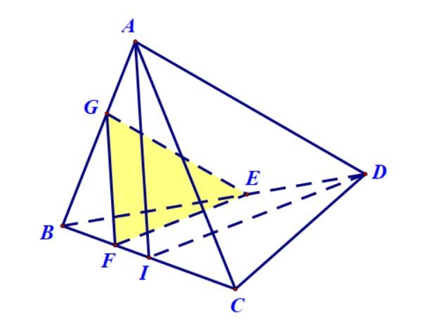 Tứ diện đều có F thuoc canh BC sao cho BF < FC Xác định thiết diện của tứ diện và mặt phẳng đi qua F đồng thời vuông góc với BC