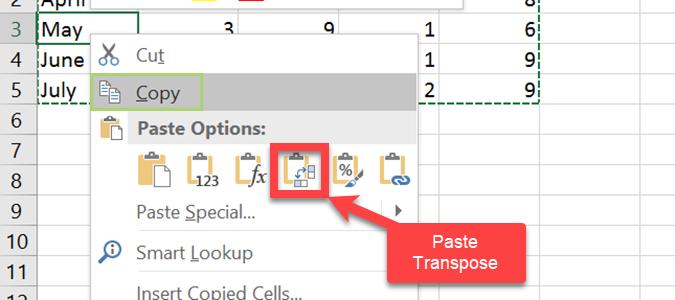 Hướng dẫn cách chuyển dòng thành cột, chuyển đổi hàng sang cột Paste Transpose trong Excel