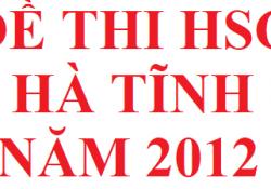 Đề thi HSG tỉnh Hà Tĩnh năm 2012 môn hoá học