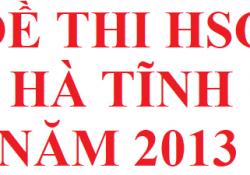 Đề thi HSG tỉnh Hà Tĩnh năm 2013 môn hoá học