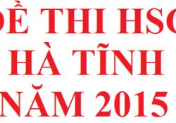 Đề thi HSG tỉnh Hà Tĩnh năm 2015 môn hoá học
