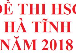 Đề thi HSG tỉnh Hà Tĩnh năm 2018 môn hoá học