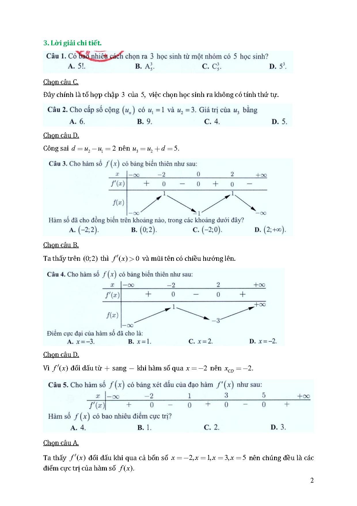 lời giải đề tham khảo môn toán 2021