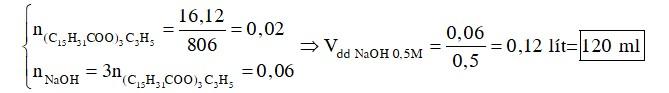 Thủy phân hoàn toàn 16,12 gam tripanmitin ((C15H31COO)3C3H5) cần vừa đủ V ml dung dịch NaOH