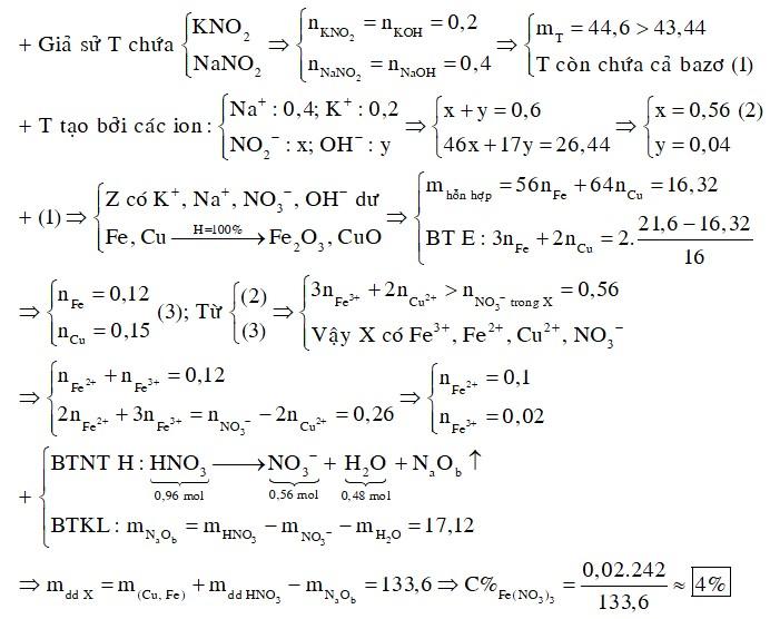 Hòa tan hết 16,32 gam hỗn hợp Fe và Cu trong 134,4 gam dung dịch HNO3 45%, thu được dung dịch X (không chứa muối amoni)