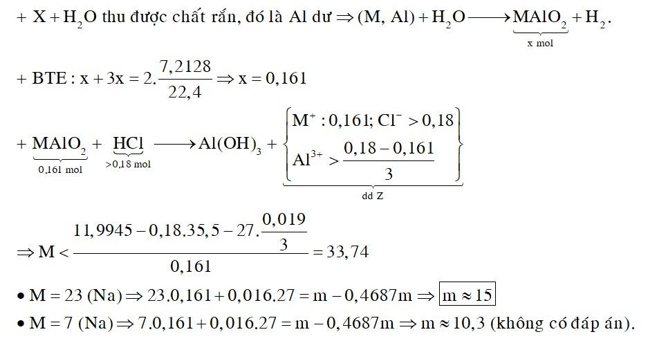 Cho m gam hỗn hợp X gồm một kim loại kiềm M và Al vào nước dư, thu được dung dịch Y
