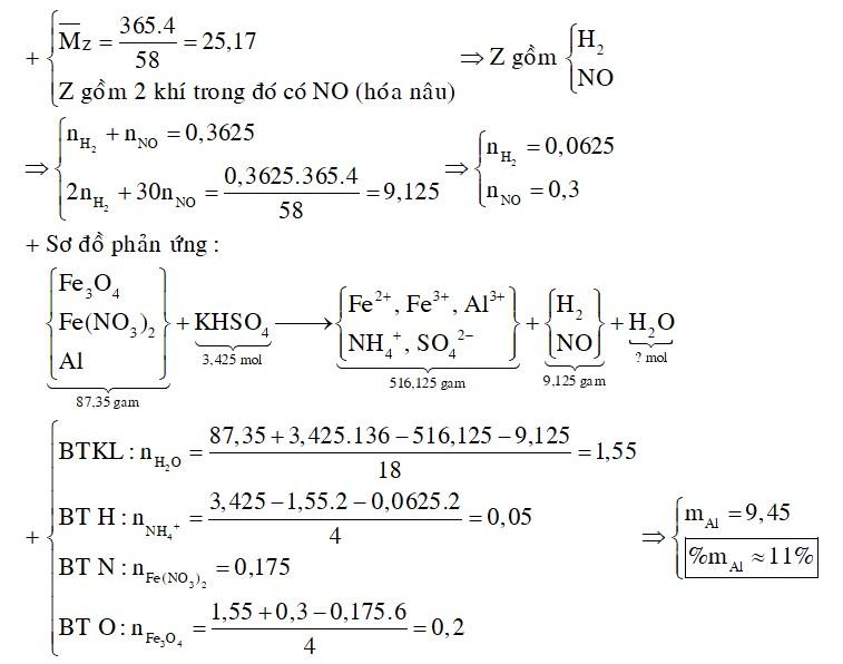 Cho 87,35 gam hỗn hợp X gồm Fe3O4, Fe(NO3)2, Al tan hoàn toàn trong dung dịch chứa 3,425 mol KHSO4 loãng