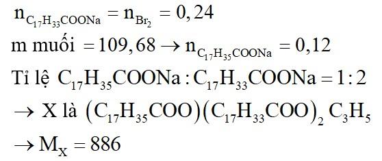 Đun nóng triglixerit X với dung dịch NaOH vừa đủ thu được dung dịch Y chứa 2 muối natristearat và natri oleat