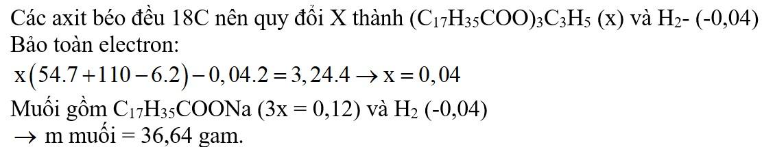 Đốt cháy hoàn toàn một lượng chất béo X cần dùng vừa đủ 3,24 mol O2. Mặt khác, thủy phân hoàn toàn lượng chất béo trên