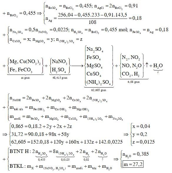 Hòa tan hết m gam hỗn hợp rắn X gồm Mg, Cu(NO3)2, Fe, FeCO3 vào dung dịch chứa H2SO4 và 0,045 mol NaNO3
