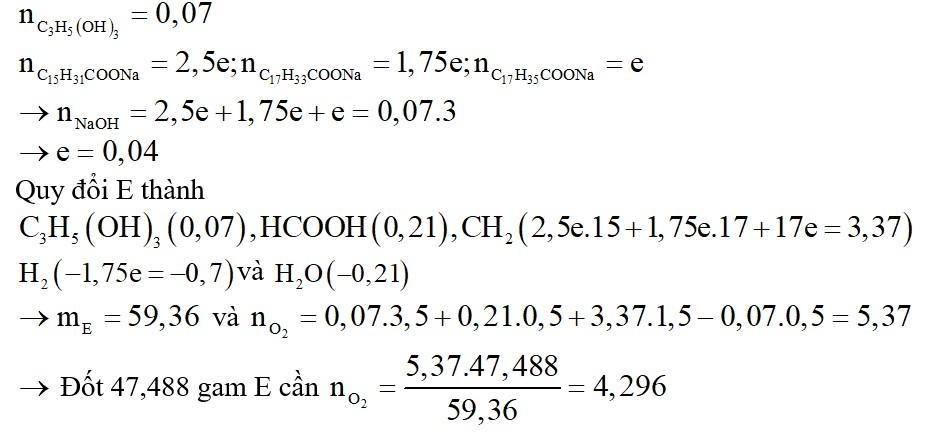 Thủy phân hoàn toàn hỗn hợp E chứa hai triglixerit X và Y trong dung dịch NaOH (đun nóng, vừa đủ), thu được 3 muối