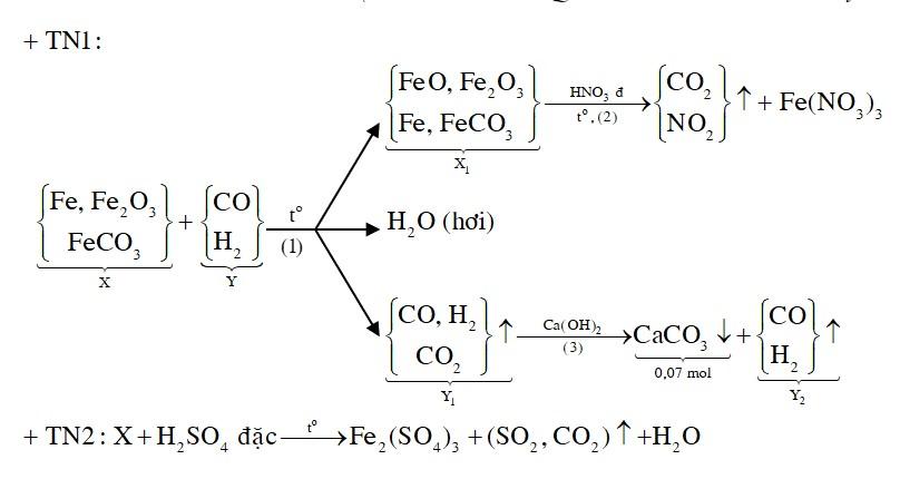 Cho 20 gam hỗn hợp X gồm Fe, FeCO3, Fe2O3 vào ống sứ nung nóng và dẫn từ từ 0,2 mol hỗn hợp khí Y gồm CO và H2