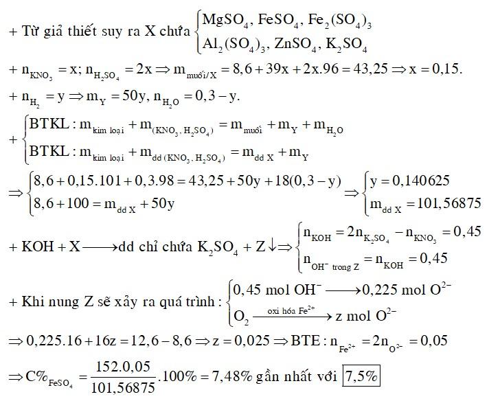 Hòa tan hoàn toàn 8,6 gam hỗn hợp Al, Mg, Fe, Zn vào 100 gam dung dịch gồm KNO3 1M và H2SO4 2M