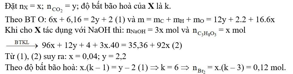 Đốt cháy hoàn toàn m gam triglixerit X cần vừa đủ 3,08 mol O2, thu được CO2 và 2 mol H2O