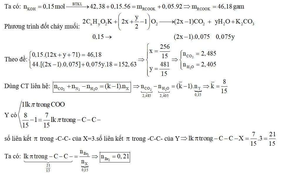 Thủy phân hoàn toàn 42,38 gam hỗn hợp X gồm hai triglixerit mạch hở trong dung dịch KOH 28% (vừa đủ)-2