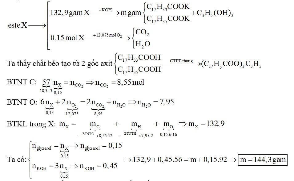 Hỗn hợp X gồm ba chất béo đều được tạo bởi glyxerol và hai axit oleic và stearic. Đốt cháy hoàn toàn 0,15 mol X