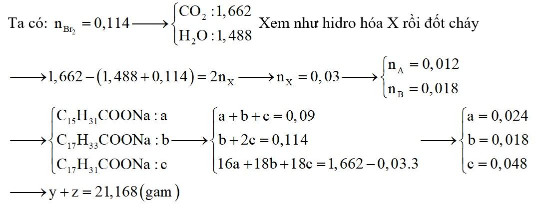 Hỗn hợp X gồm 2 triglixerit A và B (MA<MB; tỉ lệ số mol tương ứng là 2: 3)