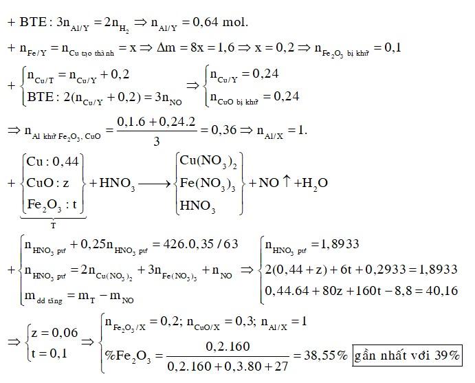 Thực hiện phản ứng nhiệt nhôm hỗn hợp X gồm Al, Fe2O3, CuO trong khí trơ ở nhiệt độ cao, sau một thời gian thu được hỗn hợp rắn Y