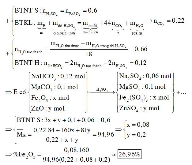 Cho m gam hỗn hợp E gồm NaHCO3, Fe2O3, ZnO, MgCO3 tác dụng vừa đủ với dung dịch H2SO4