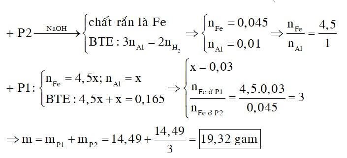 Tiến hành phản ứng nhiệt nhôm m gam hỗn hợp X gồm bột Al và một sắt oxit trong điều kiện không có không khí, được hỗn hợp Y. Nghiền nhỏ, trộn đều Y rồi chia thành hai phần: