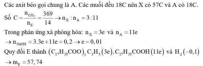 Đun nóng m gam hỗn hợp E chứa triglixerit X và các axit béo tự do với 200 ml dung dịch NaOH 1M (vừa đủ)
