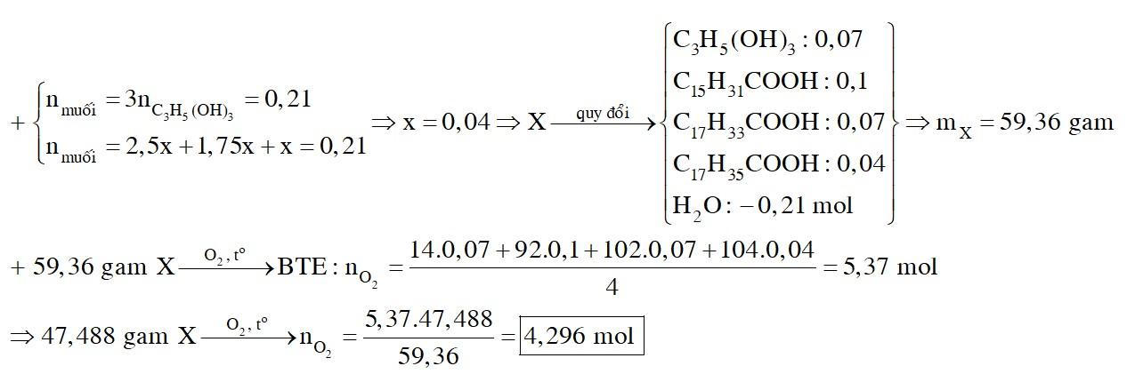 Thủy phân hoàn toàn hỗn hợp E chứa hai triglixerit X và Y trong dung dịch NaOH