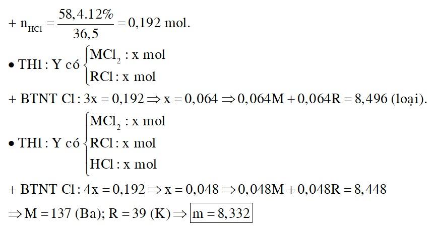 Hỗn hợp X gồm M và R2O trong đó M là kim loại kiềm thổ và R là kim loại kiềm. Cho m gam hỗn hợp X tan hết vào 58,4 gam dung dịch HCl