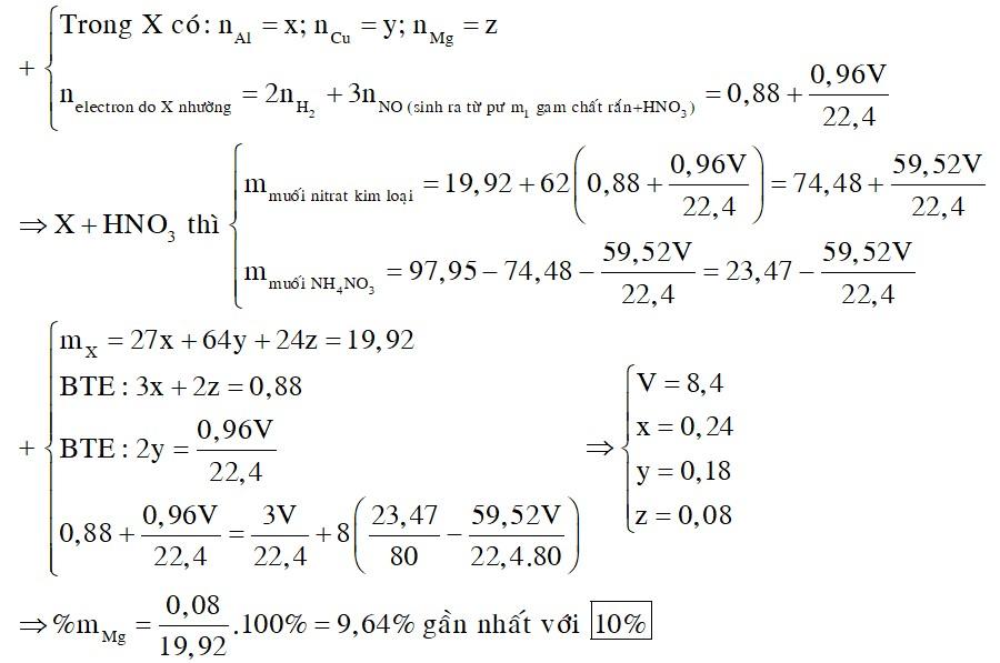 Hỗn hợp X gồm Mg, Cu và Al. Cho 19,92 gam hỗn hợp X tác dụng với dung dịch HCl dư thu được 9,856 lít H2