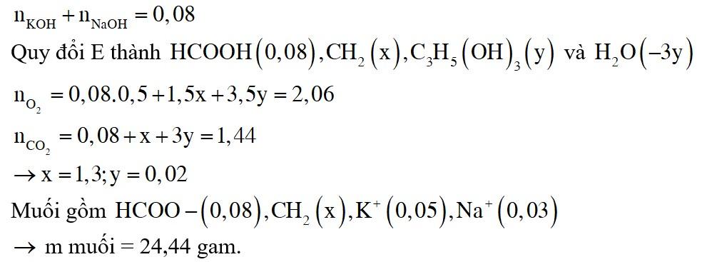 Hỗn hợp E gồm triglixerit X, axit panmitic và axit stearic. Đốt cháy hoàn toàn m gam E cần vừa đủ