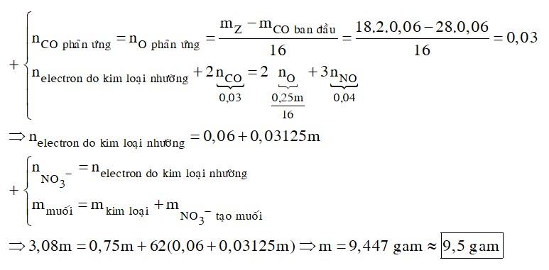 Hỗn hợp X gồm Al, Fe3O4 và CuO, trong đó oxi chiếm 25% khối lượng hỗn hợp. Cho 1,344 lít khí CO (đktc) đi qua m gam X nung nóng