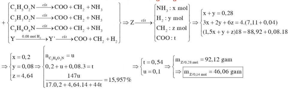 Hỗn hợp X gồm glyxin, alanin và axit glutamic. Hỗn hợp Y gồm ba chất béo. Đốt cháy hoàn toàn