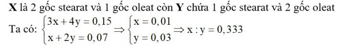 Đốt cháy hoàn toàn hỗn hợp gồm chất béo X (x mol) và chất béo Y (y mol) (MX > MY) thu được số mol CO2nhiều hơn số mol nước là 0,15