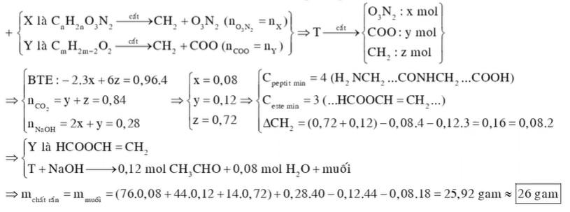 Hỗn hợp T gồm đipeptit X mạch hở (tạo bởi một amino axit dạng H2NCnH2nCOOH) và este Y đơn chức