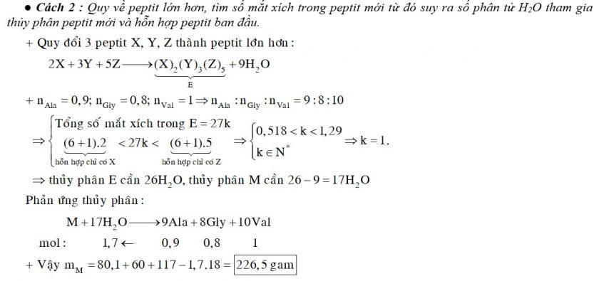 Cho m gam hỗn hợp M gồm 3 peptit X, Y, Z đều mạch hở và có tỉ lệ số mol nX : nY : nZ = 2 : 3 : 5. Thủy phân hoàn toàn M