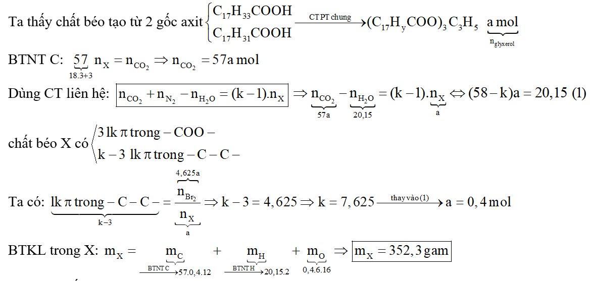 Thuỷ phân hoàn toàn m gam hỗn hợp X gồm 2 triglixerit thu được hỗn hợp glixerol, axit oleic và axit linoleic
