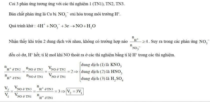 Có ba dung dịch riêng biệt : H2SO4 1M; KNO3 1M; HNO3 1M được đánh số ngẫu nhiên là (1), (2), (3).