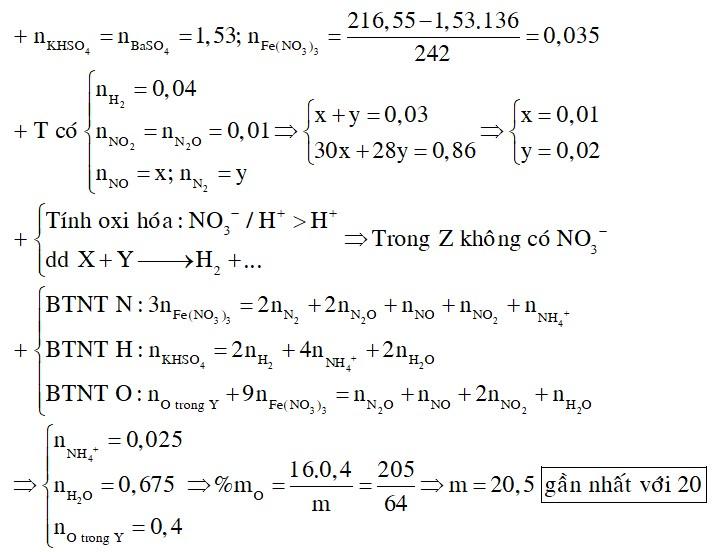 Hòa tan hoàn toàn 216,55 gam hỗn hợp KHSO4và Fe(NO3)3vào nước được dung dịch X. Cho m gam hỗn hợp Y gồm