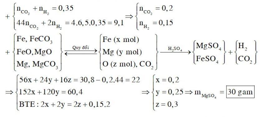Cho 30,8 gam hỗn hợp X gồm Fe, FeO, FeCO3, Mg, MgO và MgCO3 tác dụng vừa đủ với dung dịch H2SO4 loãng, thu được 7,84 lít (đktc) hỗn hợp khí