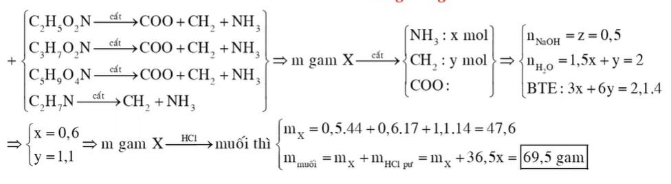 Hỗn hợp X gồm glyxin, alanin, axit glutamic và etylamin. Đốt cháy hoàn toàn m gam X cần dùng