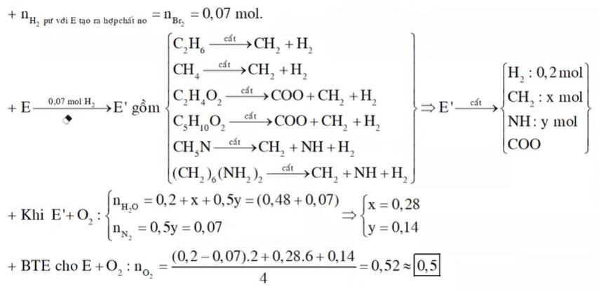 Hỗn hợp hơi E chứa etilen, metan, axit axetic, metyl metacrylat, metylamin và hexametylenđiamin. Đốt cháy