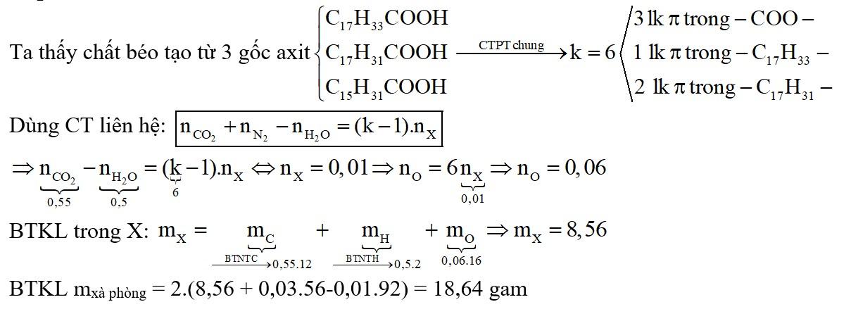 Đốt cháy hoàn toàn m gam hỗn hợp X chứa các triglierit tạo bởi cả 3 axit panmitic, oleic, linoleic