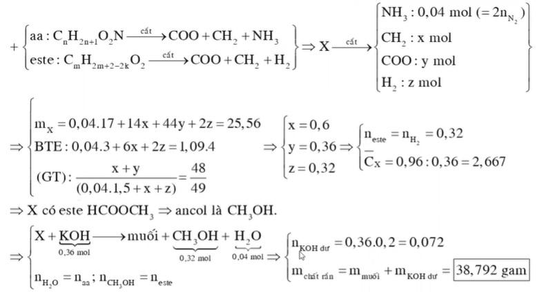 56 gam hỗn hợp X gồm một amino axit Z thuộc dãy đồng đẳng của glyxin (MZ 75) và hai este